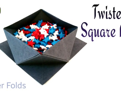 """How to make a Paper """" Twisted Square Box"""" - Variation 1 - Useful Origami tutorial"""