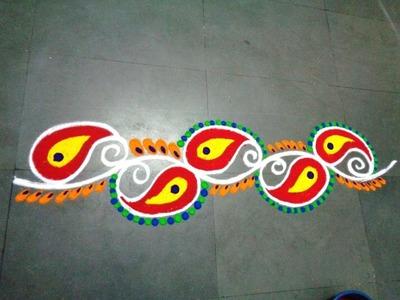 How to make beautiful new border rangoli design
