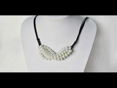 How to Make Delicate White Pearl Beads Pendant Necklace with Faux Suede Cord