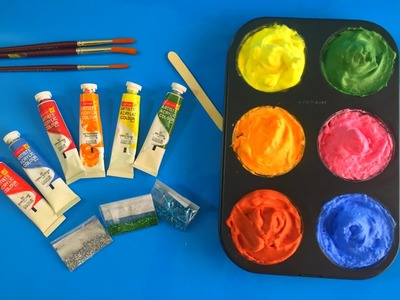 How to make Frozen Paint for kids, glitter frozen paint for toddlers, preschool children learning