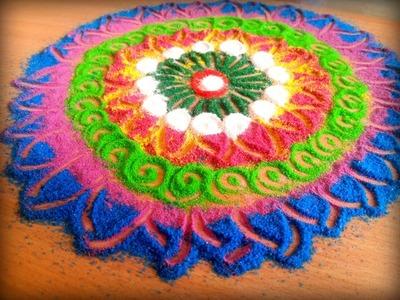 How to make Innovative galicha style rangoli | DIY Sanskar Bharti Rangoli Designs