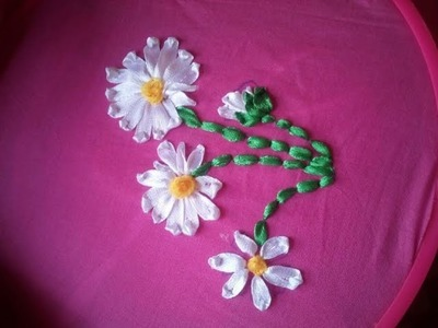 How to make Ribbon Flower with Ribbon Embroidery Technique