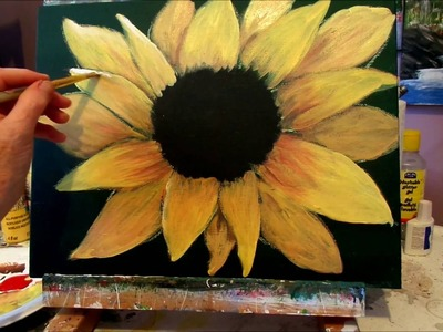How to paint a Sunflower with acrylic paint lesson 3, step by step