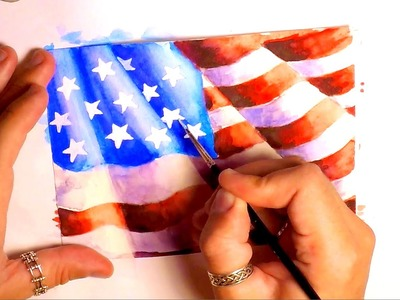 WATERCOLOR PAINTING - HOW TO PAINT AMERICAN FLAG - SPEED PAINTING
