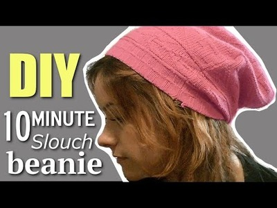 DIY FASHION: 10 Minute INSANELY EASY Slouchy Beanie!