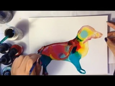 DIY paint a colorful silhouette of a dachshund.dog