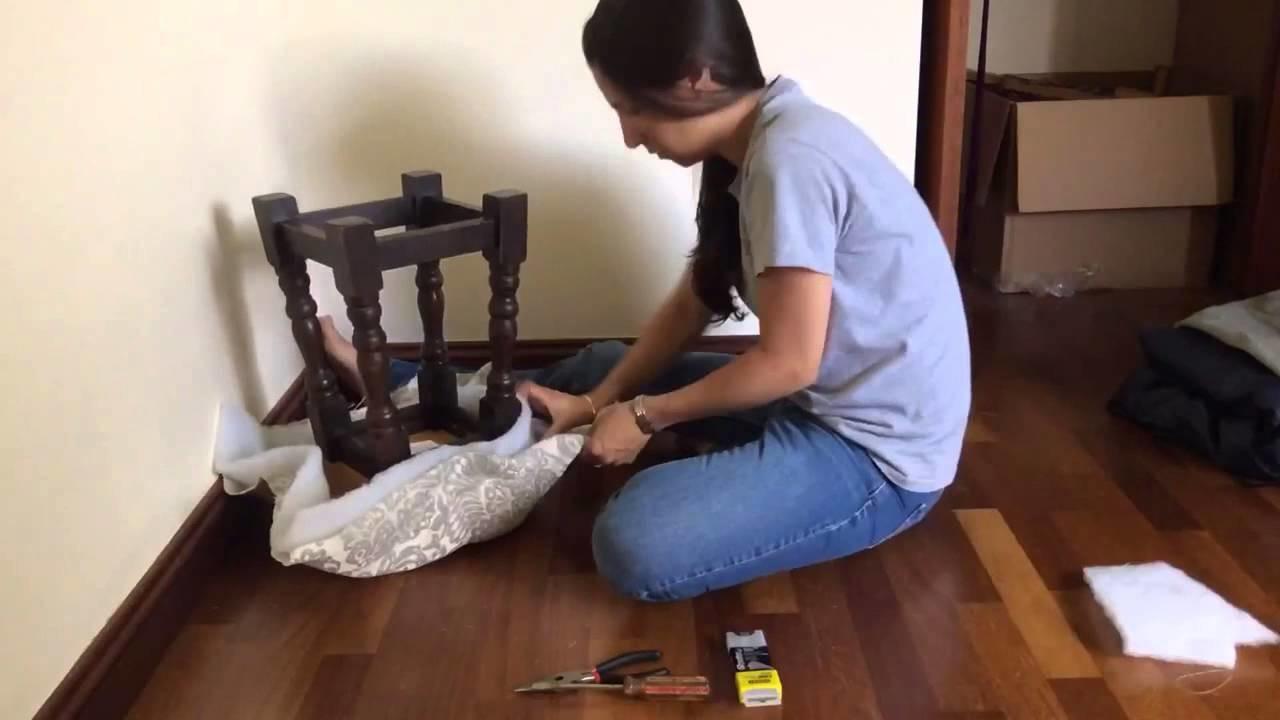 DIY Reupholstering A Stool