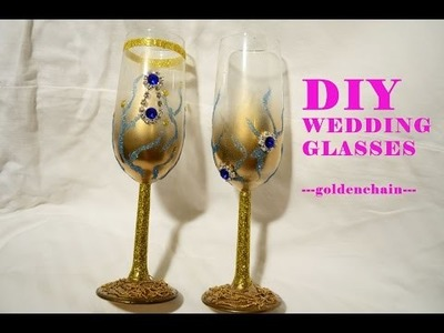 DIY Tutorial glitter wedding glass ---prettyjeweldesign---