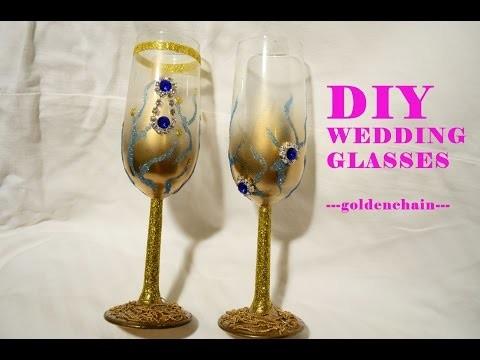 DIY Tutorial glitter wedding glass ---prettyjeweldesign---