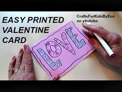 DIY valentine  card, LOVE letters, easy quick diy cardmaking for kids, 2016