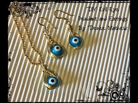 DIY Wire Wrapped Herring Bone Evil Eye Charms for Earrings and Necklaces