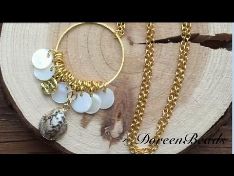 Doreenbeads Jewelry Making Tutorial - How to DIY Delicate Shell Charms Necklace