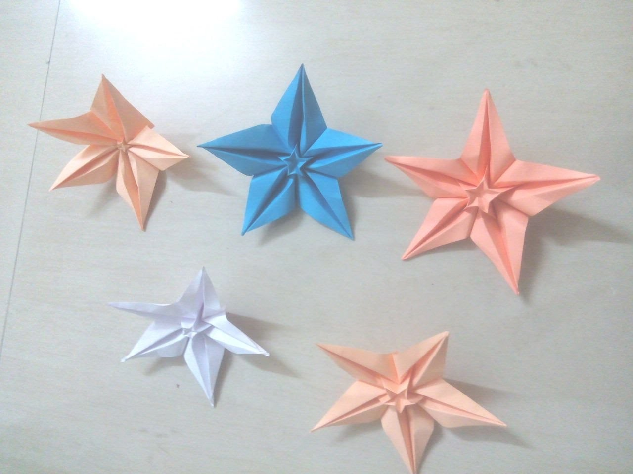 How to mak 5 pointed Star Flowers, Christmas star - Origami