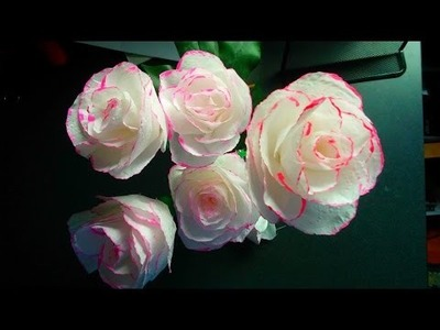How to make toilet paper rose flower with wrapping method . DIY toilet paper rose