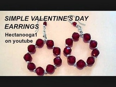 How to make Valentine's Day hoop diy earrings, jewelry making, step by step video tutorial, #1207