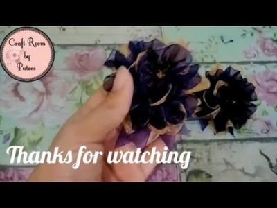 D.I.Y. Simple Organza Flower Brooch   - Fabric Flower Tutorial #1