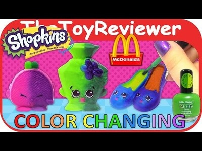 DIY Color Changing Shopkins McDonalds Happy Meal Nail Polish Unboxing Toy Review by TheToyReviewer
