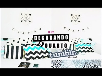 DIY DECOR TUMBLR| Bandeirolas & Almofadas P&B ♥