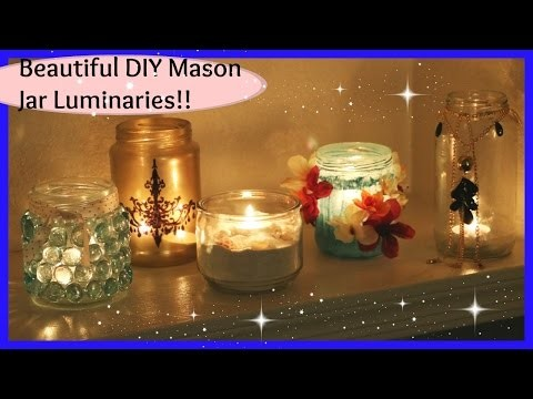 DIY Mason Jar Crafts - Beautiful Luminaries for Home Decor - Great Gift Idea - Laxmi Jakkal