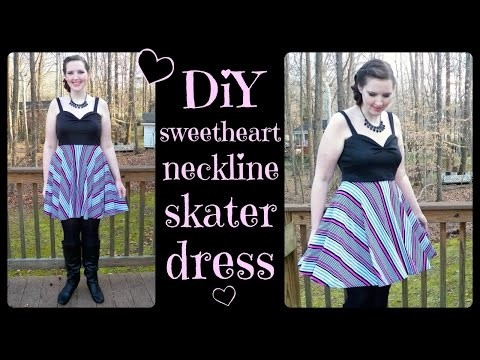 DIY Skater Dress with Circle Skirt + Sweetheart Neckline Bodice - How to Sew