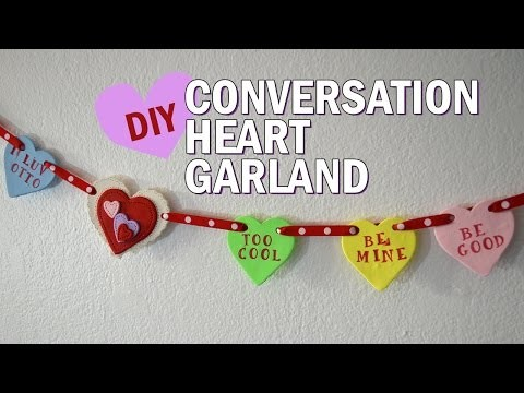 DIY Valentine's Day room decor - Conversation Hearts Garland - polymer clay candy crafts tutorial