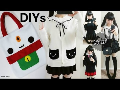 Cute DIYs for Cat Lovers: DIY Lucky Cat Tote Bag + DIY Cat Pockets Sweater + School Outfits