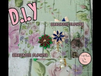 D.I.Y. Kanzashi Flower with Chain Dangle - Fabric Flower Tutorial #2