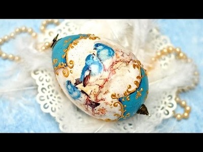 Decoupage ester egg blue birds  ---- DIY  By Catherine :)