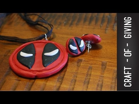 DIY Deadpool Polymer Clay necklace and earrings | Craft of Giving