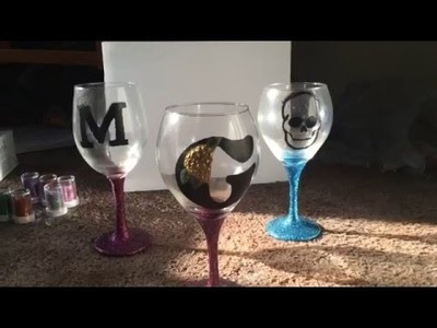 Diy glitter wine glass