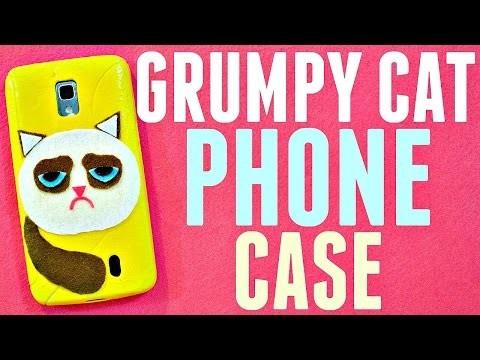 DIY GRUMPY CAT PHONE CASE   How to Make a Felt Phone Case