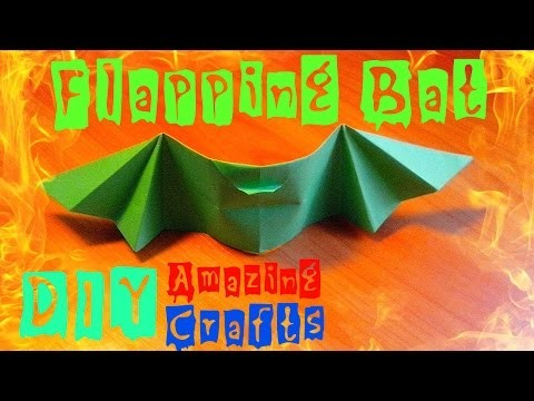 DIY How To Fold Origami Flying BAT Easy. Halloween Bat Craft Tutorial For Kids. Bats Batman