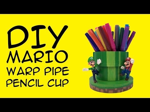 DIY Mario Warp Pipe Pencil Cup: Crafty McFangirl Tutorial