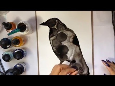 DIY tutorial how to paint a crow EASY
