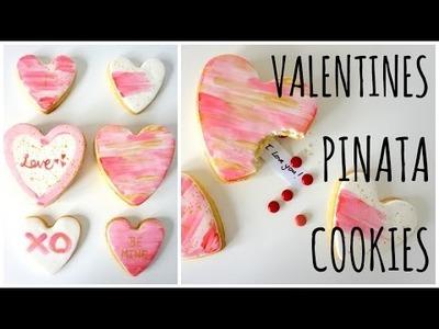 DIY Valentines gift: Heart piñata cookies with hidden message inside
