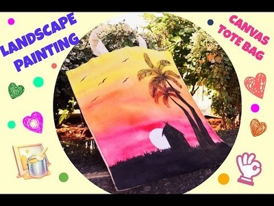 How to do freehand Sunset landscape painting on Canvas tote bag!! DIY:Canvas tote bag
