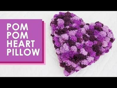How to Knit a Pom Pom Heart Pillow: Valentine's Day DIY