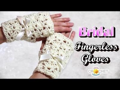 Bridal Fingerless Gloves Crochet Pattern - Classic Fan Stitch Lace