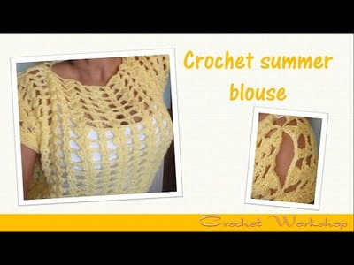 Crochet fan stitch summer blouse
