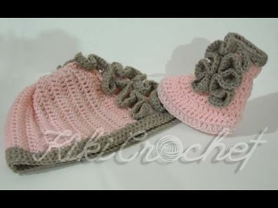 Crochet Ruffle Stitch Booties (english tutorial pt2)