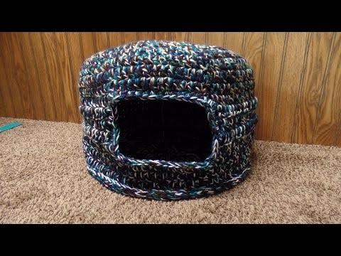 #Crochet Scrap Yarn Cat House Cat Bed #TUTORIAL