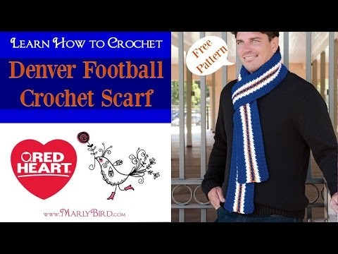 Denver Football Game Day Scarf Free Crochet Pattern by Marly Bird using Red Heart Yarns