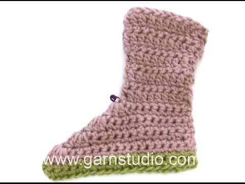 DROPS Crocheting Tutorial: How to work slippers with double and treble crochet.