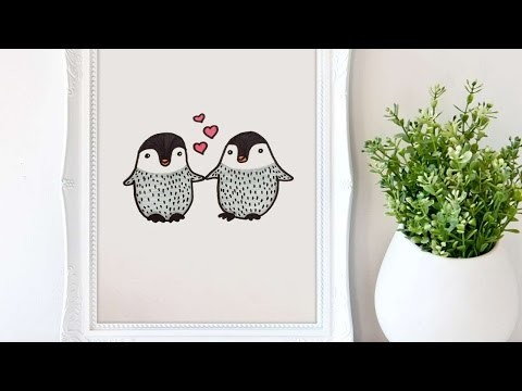 How To Draw A Penguin Lovers Picture - DIY Crafts Tutorial - Guidecentral