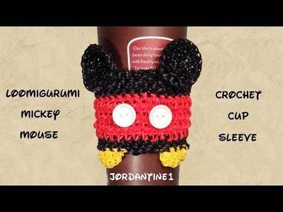 Loomigurumi. Amigurumi Mickey Mouse Coffee Cup Cozy Sleeve - Rubber Band Crochet - Rainbow Loom