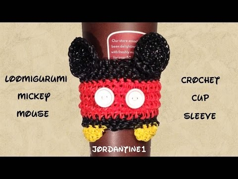 Loomigurumi. Amigurumi Mickey Mouse Coffee Cup Cozy Sleeve - Rubber Band Crochet - Rainbow Loom