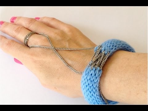 Crafts - How to make bracelets with  wool decorated with chain