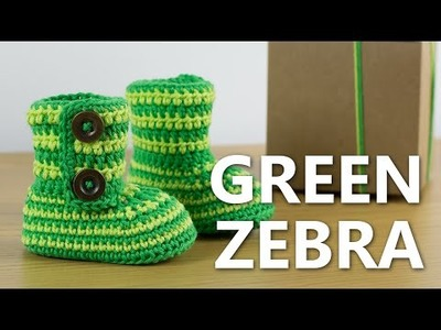 Crochet Baby Booties Green Zebra