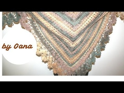 Crochet Bruges lace on a triangular shawl
