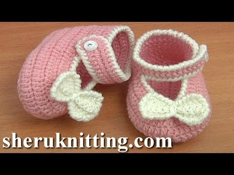 Crochet Button Buckle Bow Shoes Tutorial 37 Part 1 of 2
